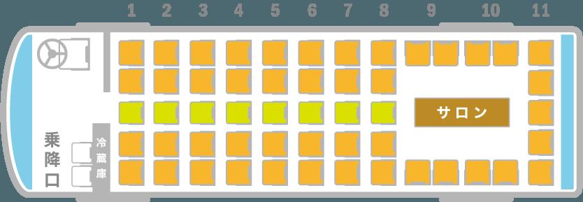 サロン付き 大型バス 座席図