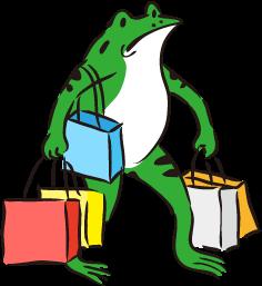 荷物が多いカエル